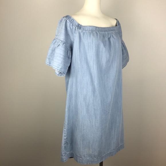 a961fb3ddcfb Madewell Dress Azalea Denim Chambray Off Shoulder